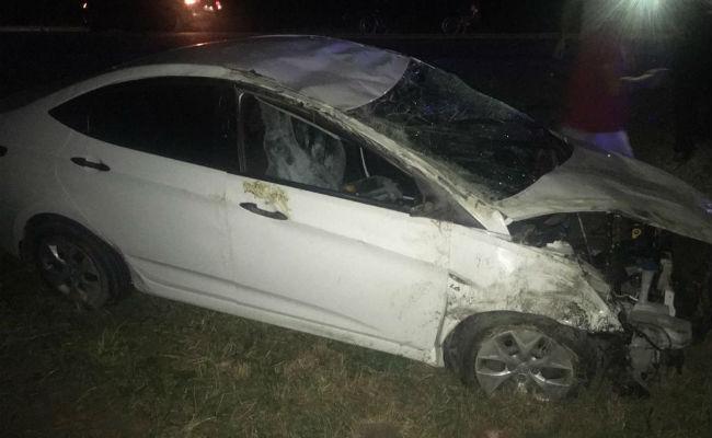 Автомобиль Hyundai Solaris вылетел в кювер