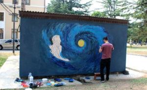 В Цхинвале появилось граффити с изображением югоосетинского ученого Васо Абаева